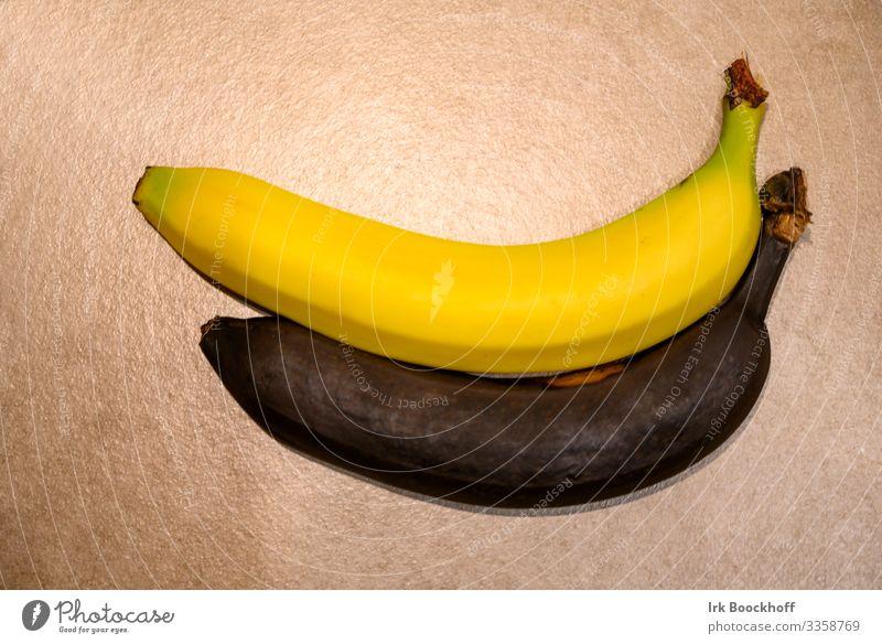 Frische und verdorbene Banane Lebensmittel Frucht Ernährung Gesunde Ernährung Diät Fitness exotisch lecker natürlich dünn gelb schwarz Appetit & Hunger genießen