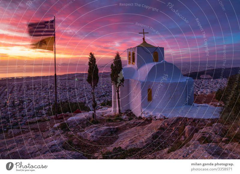 blau Landschaft Berge u. Gebirge rosa Europa Kirche ästhetisch violett Griechenland Großstadt Vientiane Athen Attika