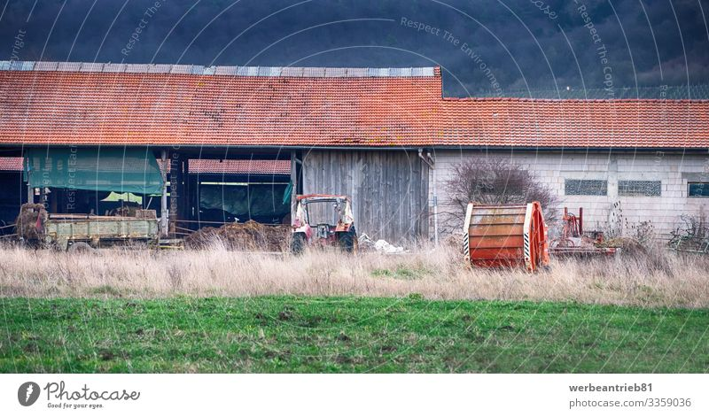 Hinterhofansicht eines deutschen Bauernhofs Haus Natur Landschaft Pflanze Gras Gebäude Architektur Verkehr Wege & Pfade Traktor Arbeit & Erwerbstätigkeit