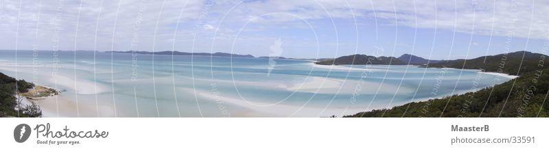 Whitehaven Beach Natur Wasser Meer Strand Ferien & Urlaub & Reisen Ferne Landschaft Küste groß Idylle Bucht Australien Paradies Panorama (Bildformat) Sandstrand