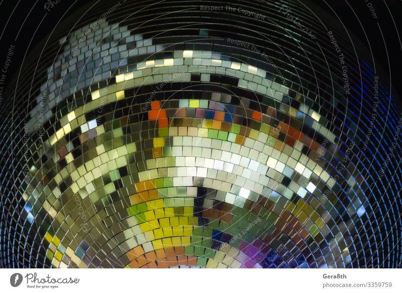 Bunte Discokugel aus nächster Nähe Stil Design Dekoration & Verzierung Club Kugel Linie glänzend hell schwarz Farbe Hintergrund Ball groß schließen farbenfroh