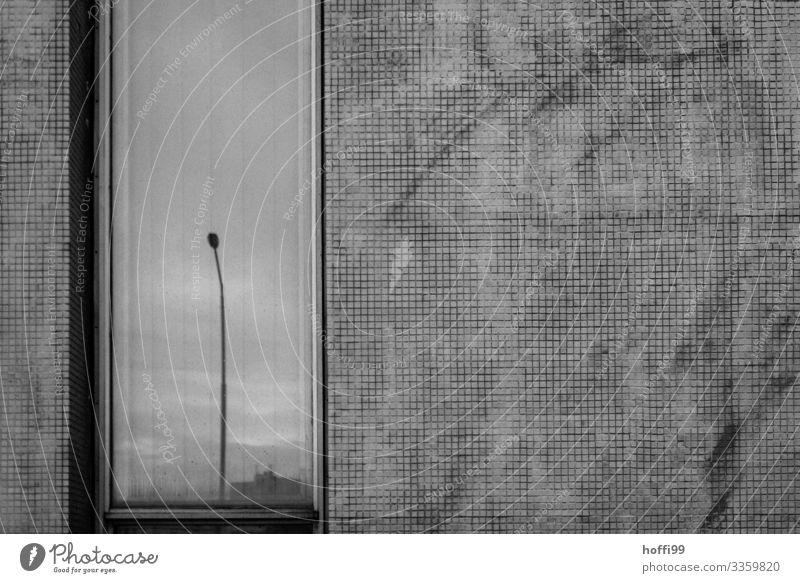 graue trostlose Fassade mit Spiegelung schlechtes Wetter Stadt Menschenleer Gebäude Mauer Wand Fenster Straßenbeleuchtung alt bedrohlich dreckig dunkel gruselig