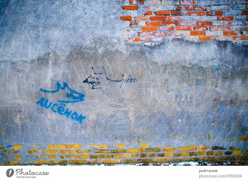Meister Reineke Lifestyle Subkultur Straßenkunst Kreuzberg Mauer Wand Backsteinwand Putz Schriftzeichen Fuchs alt authentisch außergewöhnlich einzigartig grau