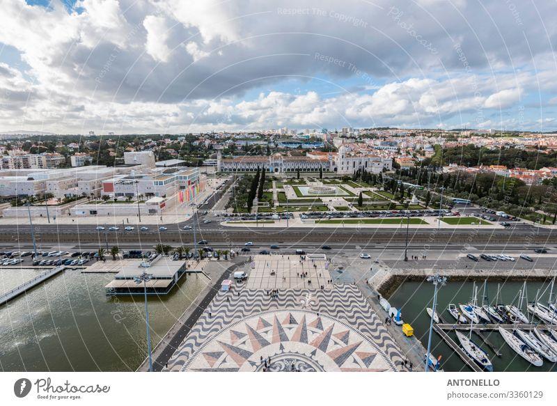 Panorama mit dem Jeronimos-Kloster in Lissabon Ferien & Urlaub & Reisen Tourismus Sightseeing Architektur Himmel Wolken Horizont Sonnenlicht Frühling Park