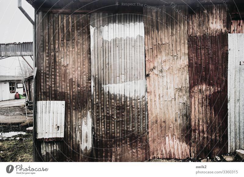 Blechbüchse Polen Markt Buden u. Stände Stadtrand Wellblech Wellblechwand Wellblechhütte Metall alt Verfall Vergänglichkeit Fußgängerzone verwittert verfallen