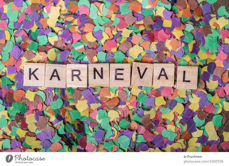 KARNEVAL Party Veranstaltung Feste & Feiern Karneval Papier Dekoration & Verzierung Schriftzeichen wählen schreiben positiv mehrfarbig Freude Konfetti Scrabble