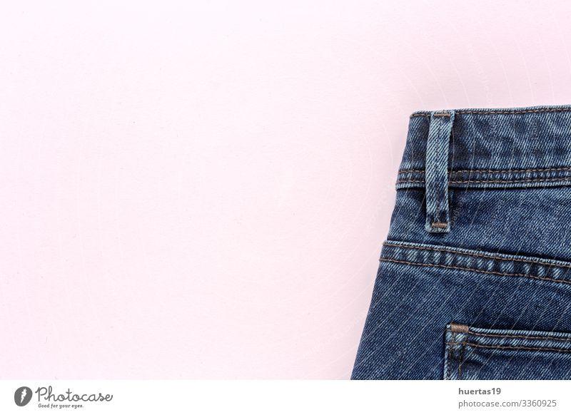 Details der blauen Jeans mit Reißverschluss, Taschen Lifestyle Design Industrie Mode Bekleidung Hose Jeanshose rosa Blue Jeans Knöpfe Reißverschlüsse Ösen
