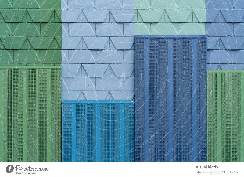 Detail einer Stadtmauer mit kalten Farben Design Dekoration & Verzierung Architektur modern blau grün abstrakte Fotografie architektonisch Hintergrund