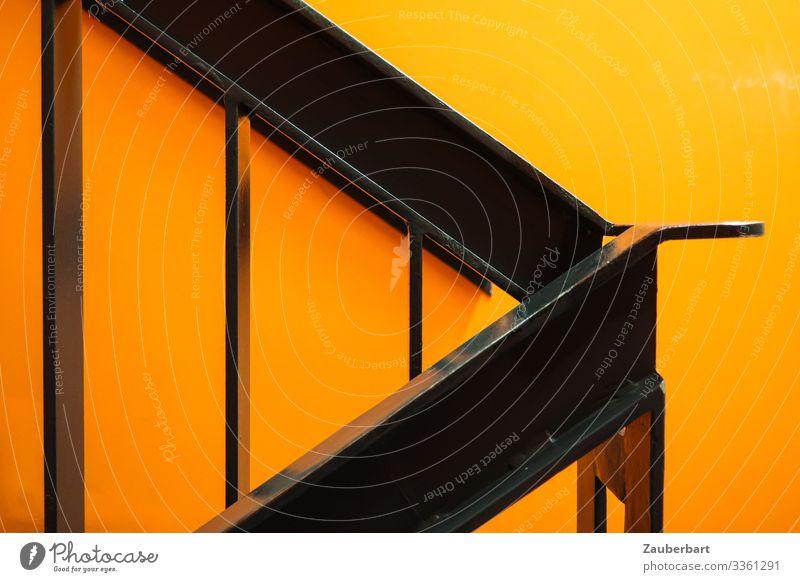 Stairwork Orange Innenarchitektur Treppe Treppenhaus Treppengeländer Geländer Metall eckig glänzend orange schwarz Coolness planen aufsteigen Linie Pfeil grell