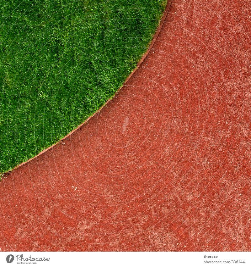 Grünes Viertel Stadt grün rot Landschaft Wiese Gras Wege & Pfade Garten Park Zufriedenheit rund Zeichen Rasen Ornament achtsam Wegkreuzung