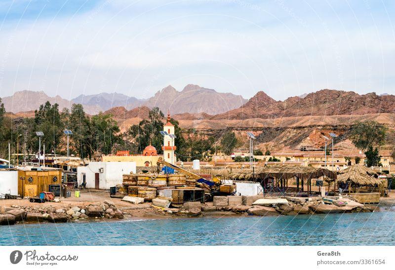 dörflicher Slumhafen am Roten Meer in Ägypten Ferien & Urlaub & Reisen Tourismus Ausflug Strand Berge u. Gebirge Haus Technik & Technologie Natur Landschaft