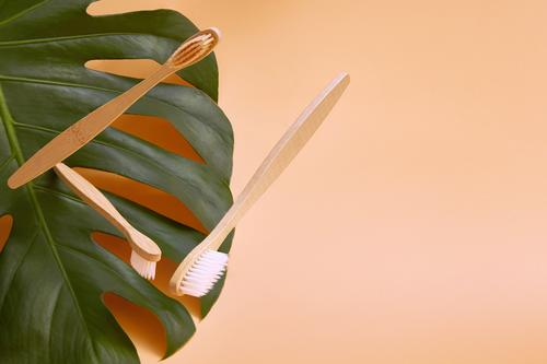 Hölzerne Bambus-Zahnbürsten im Flug auf einem Hintergrund. Lifestyle Gesundheitswesen Behandlung Medikament Wellness Zähne Umwelt Pflanze Blatt Holz frisch