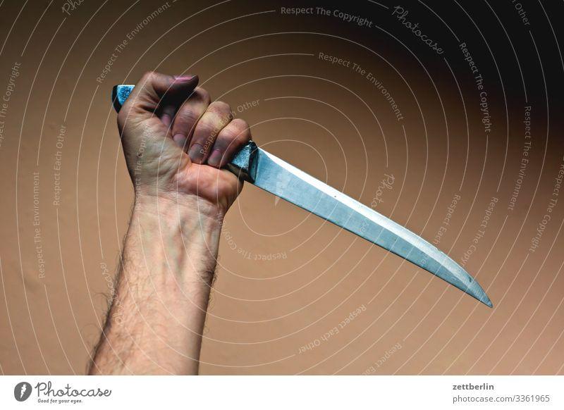 Psycho Arme Hand bedrohlich dolch Gewalt Kriminalroman Mann Messer Metzger Metzgerei Schlachthof Schlachtung Fleischmesser schneiden stechen Stich Stichwunde