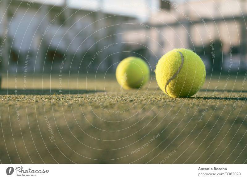 Paddle-Tennis-Objekte auf dem Platz, Bälle im Freien Erholung Freizeit & Hobby Spielen Sport gelb Paddeltennis Padel Ball Remmidemmi Gerichtsgebäude Tennisball