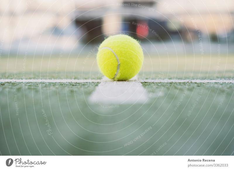 Paddel-Tennisobjekte auf dem Platz, Ball auf der Linie im Freien Erholung Freizeit & Hobby Spielen Sport ästhetisch Paddeltennis Padel Remmidemmi