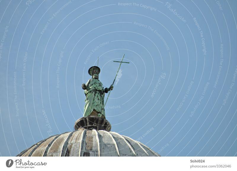 Statue auf dem Baptisterium des Doms in Pisa Mensch Ferien & Urlaub & Reisen blau Stadt grün Ferne Senior Tourismus grau Metall 60 und älter stehen Italien