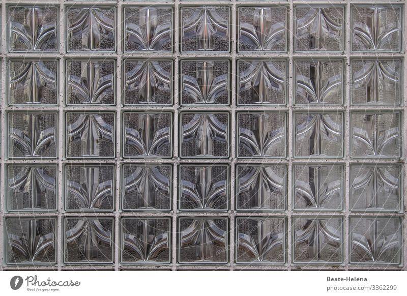 Retro-Muster aus Glasbausteinen Dekoration Hausbau Architektur 60er Sichtschutz retro Fenster Fassade Häusliches Leben Außenaufnahme Gebäude 70er Jahre