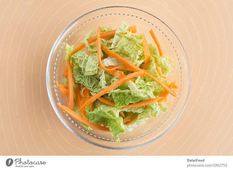 Krautsalat, Krautsalat und Karotten Gemüse Mittagessen Abendessen Vegetarische Ernährung Diät Teller Schalen & Schüsseln frisch lecker grün weiß Tradition Asien