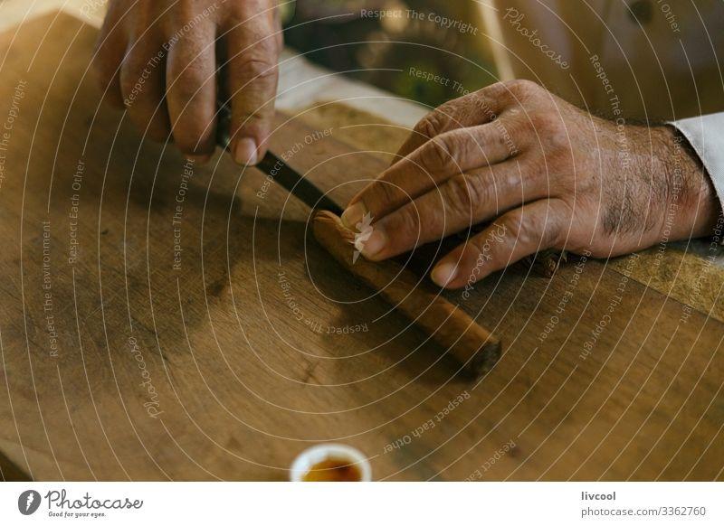 zigarrenherstellung von hand IV , viñales - kuba Messer Lifestyle Insel Tisch Mann Erwachsene Hand Natur Blatt Dorf Stadt Holz machen authentisch braun