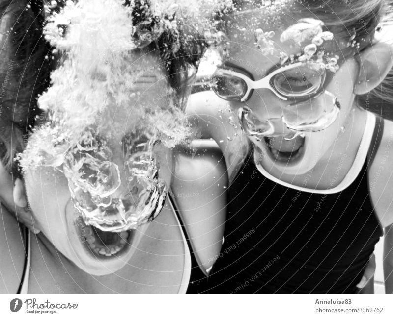 Blubberblubber Frau Kind Mensch Jugendliche Junge Frau Sommer Wasser Meer Erholung Mädchen Erwachsene kalt Sport Kopf Schwimmen & Baden frei