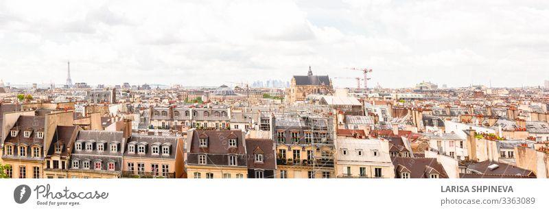 Panoramabild von Paris auf das Stadtzentrum, Paris, Frankreich Ferien & Urlaub & Reisen Sightseeing Haus Landschaft Himmel Horizont Frühling Skyline Turm