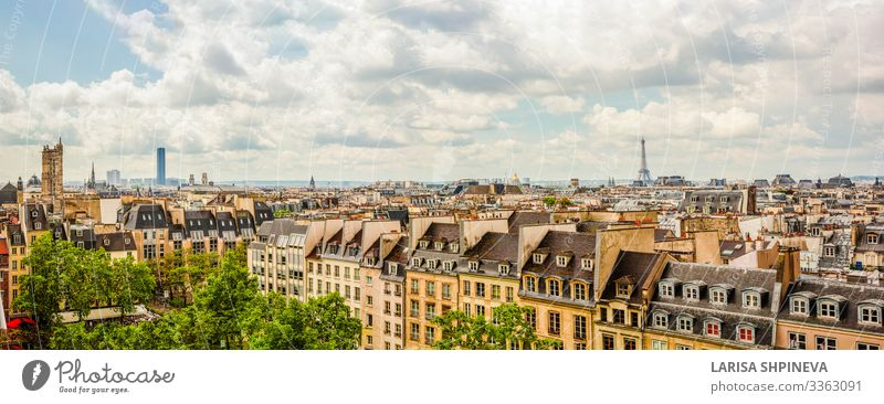 Panoramabild von Paris auf das Stadtzentrum, Frankreich Ferien & Urlaub & Reisen Sightseeing Haus Garten Landschaft Himmel Horizont Frühling Park Skyline