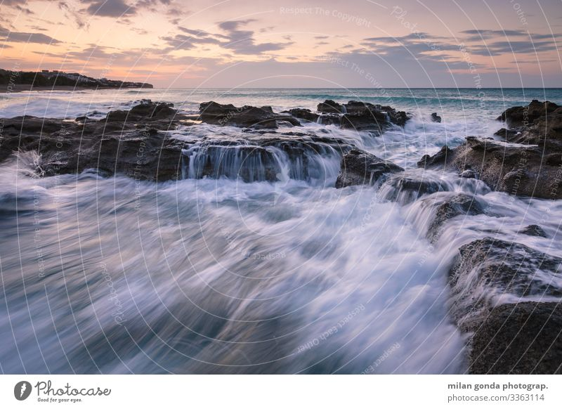 Natur blau Meer Strand Küste Felsen Europa violett Griechenland