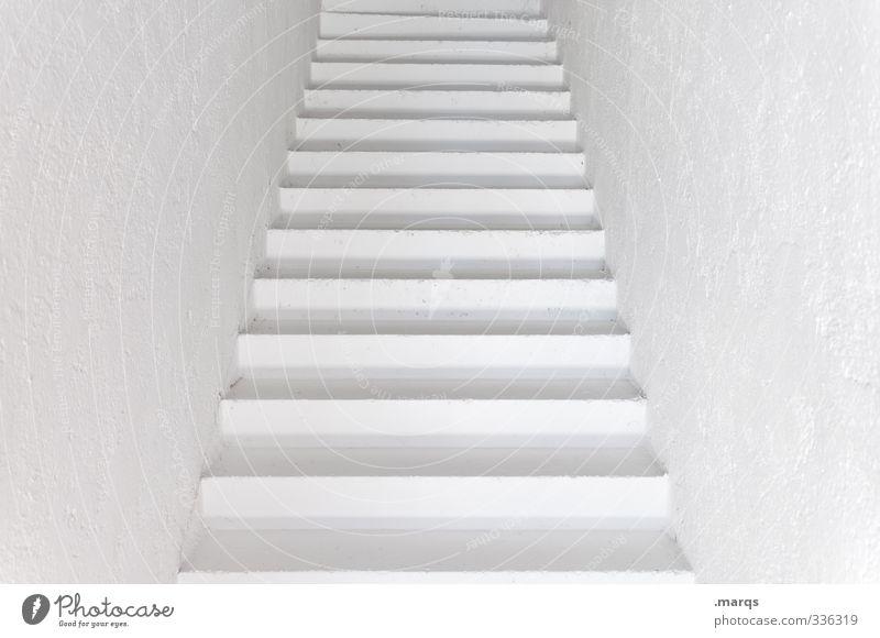 Trep elegant Stil Design Innenarchitektur Architektur Treppe Treppenhaus außergewöhnlich Unendlichkeit modern Sauberkeit schön weiß Beginn Farbe Ziel Zukunft