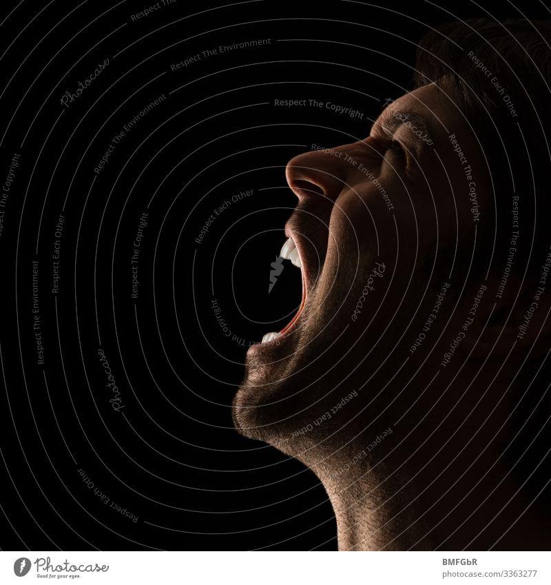 Der Schrei Mensch maskulin Mann Erwachsene Leben Kopf 1 30-45 Jahre schreien Aggression verrückt Wut schwarz Gefühle Traurigkeit Trauer Schmerz Todesangst