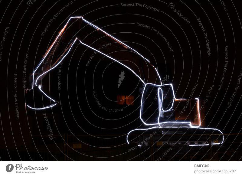 Bagger Night Arbeit & Erwerbstätigkeit Beruf Handwerker Baggerfahrer Bauarbeiter Baustelle Wirtschaft Industrie Dienstleistungsgewerbe Erfolg Werkzeug Schaufel