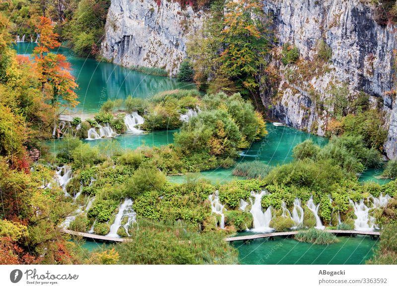 Der Nationalpark Plitvicer Seen in Kroatien Ferien & Urlaub & Reisen Umwelt Natur Landschaft Pflanze Herbst Baum Gras Blatt Felsen Teich Wasserfall oben grün