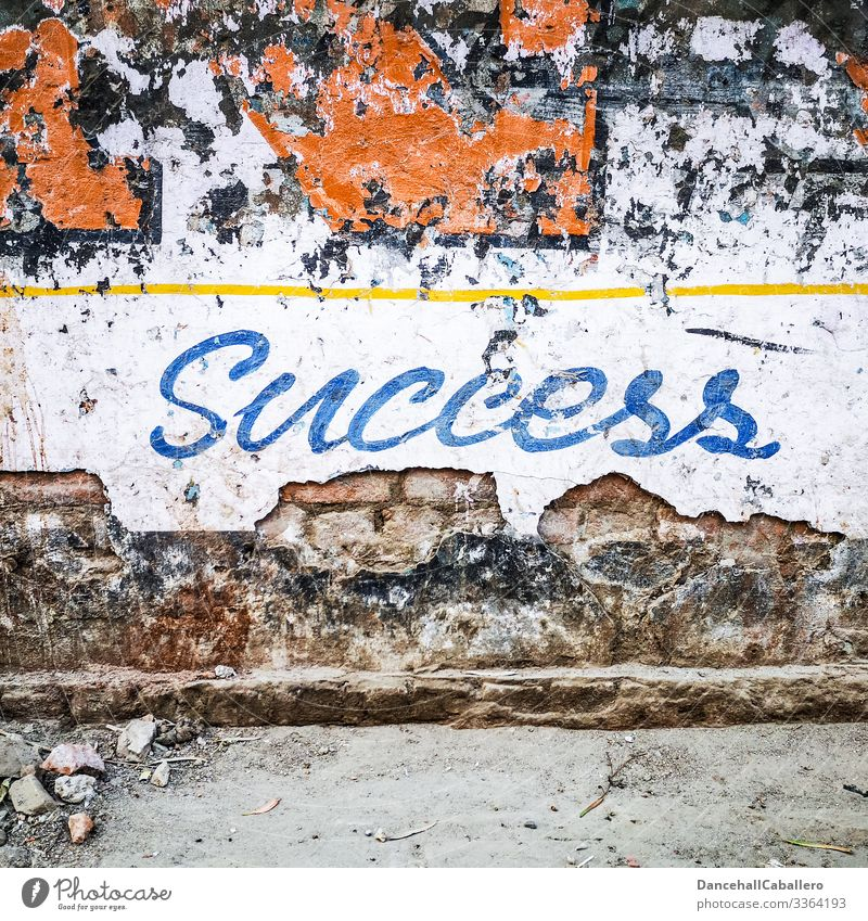 Schriftzug Erfolg auf kaputter alter Mauer Misserfolg Wand Wandel & Veränderung Graffiti Enttäuschung Fassade Zeichen Schriftzeichen Stadt Perspektive Karriere