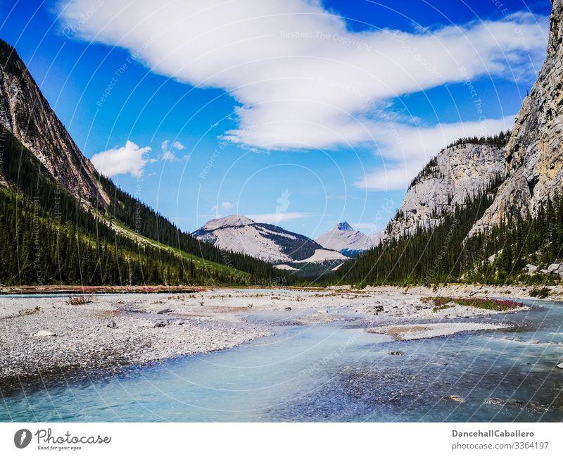 Landschaft mit Bergen und Fluss Berge u. Gebirge Bergkette Natur wandern Außenaufnahme Ferien & Urlaub & Reisen Kanada Banff National Park Jasper National Park