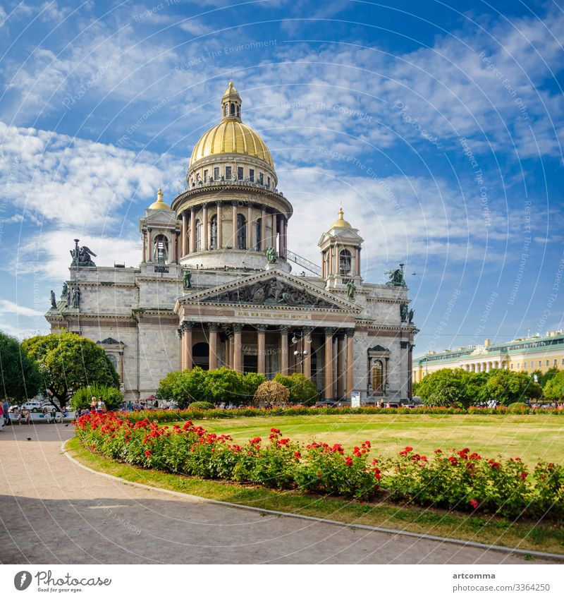 St. Isaakskathedrale in St. Petersburg, Russland Architektur blau Gebäude Kathedrale Kirche Großstadt Kolonnade Kultur Tag berühmt Blume grau grün Historie
