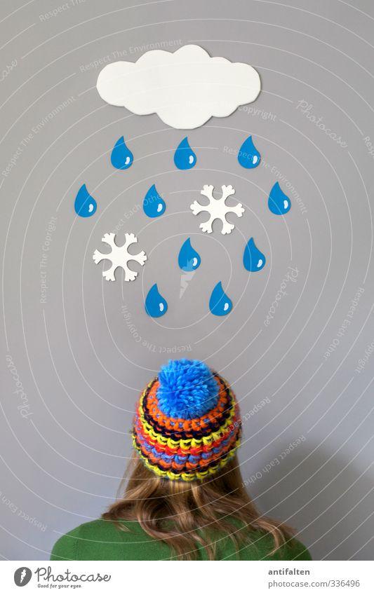 Ab Morgen wieder Schneeregen Mensch Frau Jugendliche blau weiß Sommer Freude Wolken Winter Junge Frau Erwachsene feminin Herbst 18-30 Jahre Haare & Frisuren