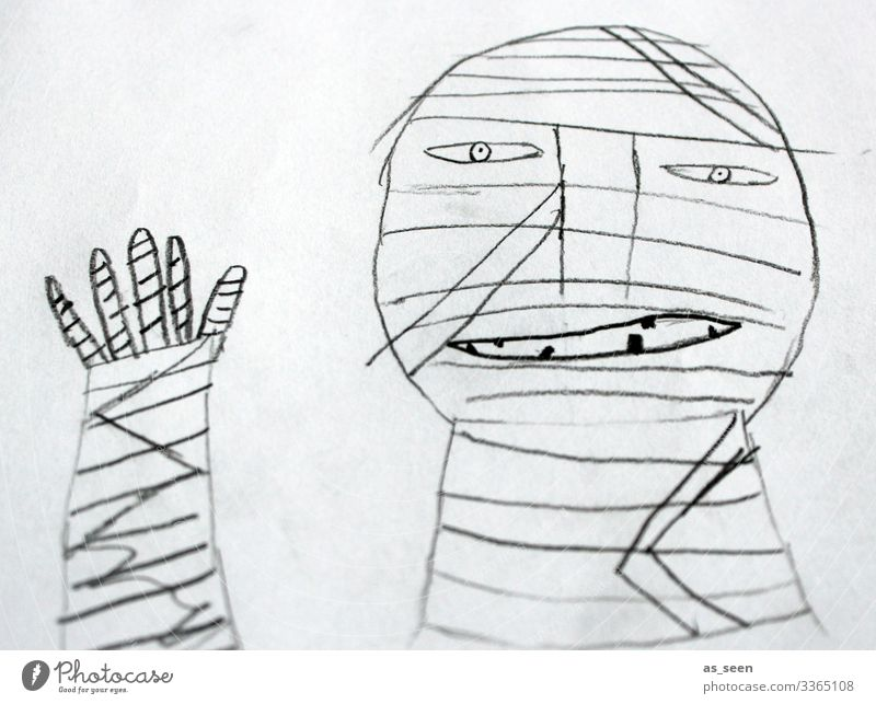 Mumie mumie Zeichnung winken Verband außergewöhnlich Mensch Gesicht Mullbinde Finger Lächeln lächelnd grinsen Tod Geister u. Gespenster böse geheimnisvoll Angst