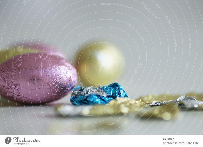Schokoladenostereier Lebensmittel Süßwaren Schokoladenosterhase Osterei Ernährung Essen Ostern Dekoration & Verzierung liegen ästhetisch trendy klein modern