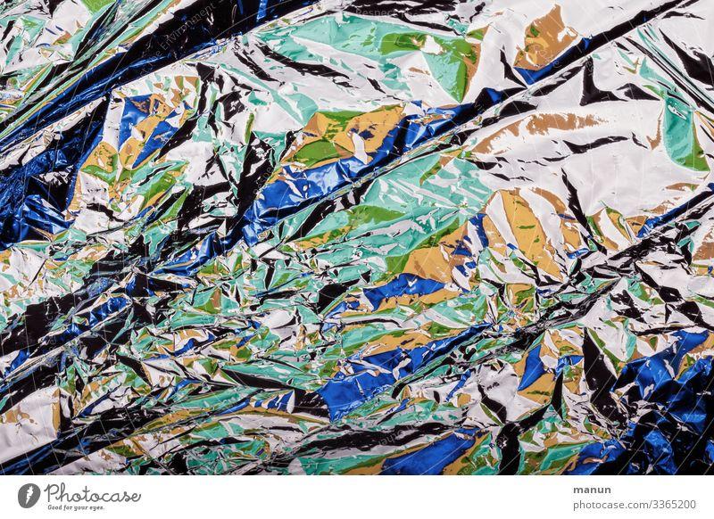 Knitterfalten Verpackung Aluminium Metallfolie Farbfleck Falte knittern glänzend Farbfoto abstrakt Muster Strukturen & Formen Menschenleer Tag Licht Schatten