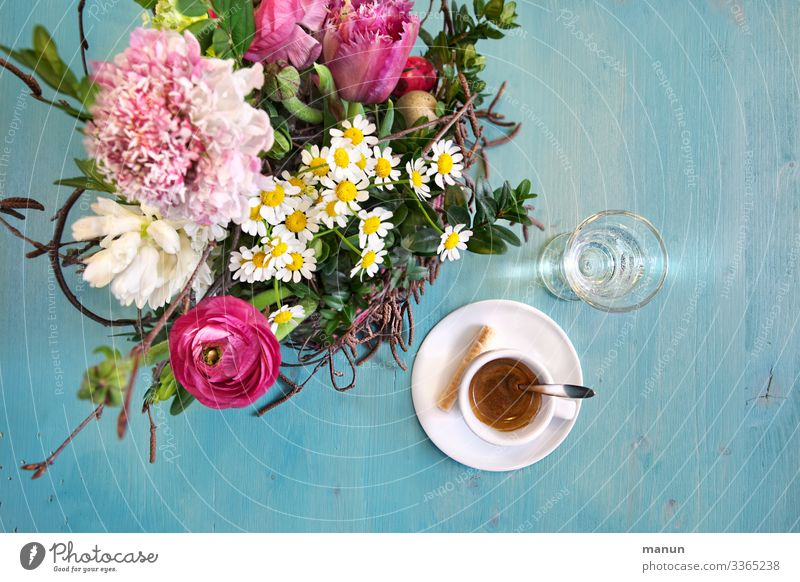 Blümchenkaffee Blume Erholung Freude Gesundheit Lifestyle Häusliches Leben Dekoration & Verzierung süß frisch Tisch Lebensfreude genießen Trinkwasser lecker