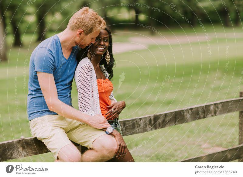 Mehrrassiges Paar im Park Lifestyle Sommer Mensch Frau Erwachsene Mann rothaarig Holz sitzen Zusammensein modern schwarz Freund lässig Kaukasier Vielfalt