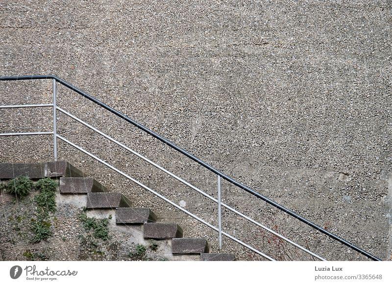 Treppen, nach oben Moos Grünpflanze Stadt Mauer Wand Wege & Pfade Stein Beton alt braun grau Macht massiv steil Farbfoto Gedeckte Farben Außenaufnahme