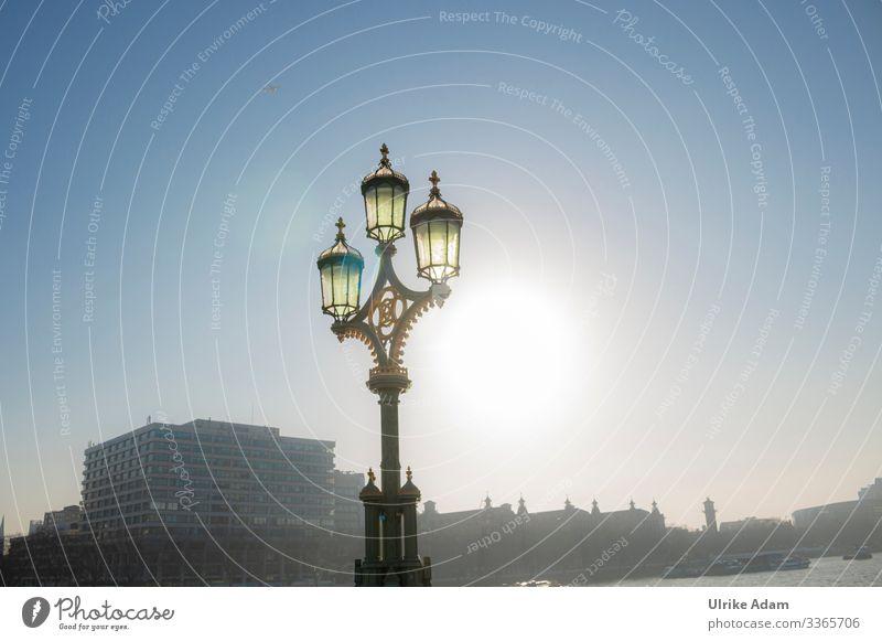 Lampe auf der Westminster Bridge - London Ferien & Urlaub & Reisen Tourismus Sightseeing Städtereise Tapete Schönes Wetter Fluss Themse Themse Brücken