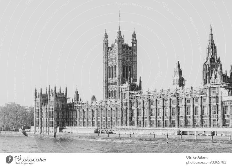 Blick über die Themse zum Palast von Westminster ( Palace of Westminster ) in London Politik & Staat Ferien & Urlaub & Reisen Nostalgie Außenaufnahme Romantik