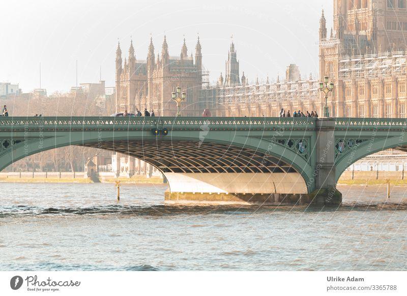 Impressionen aus London Frühling Schönes Wetter Flussufer Themse Themse Brücken Großbritannien Europa Hauptstadt Stadtzentrum Altstadt Skyline bevölkert Palast