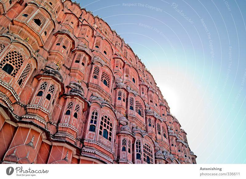 Palast der Winde 2 Luft Himmel Wolkenloser Himmel Sonne Sonnenlicht Sommer Wetter Schönes Wetter Wärme Jaipur Rajasthan Indien Asien Stadt Hauptstadt Haus Mauer