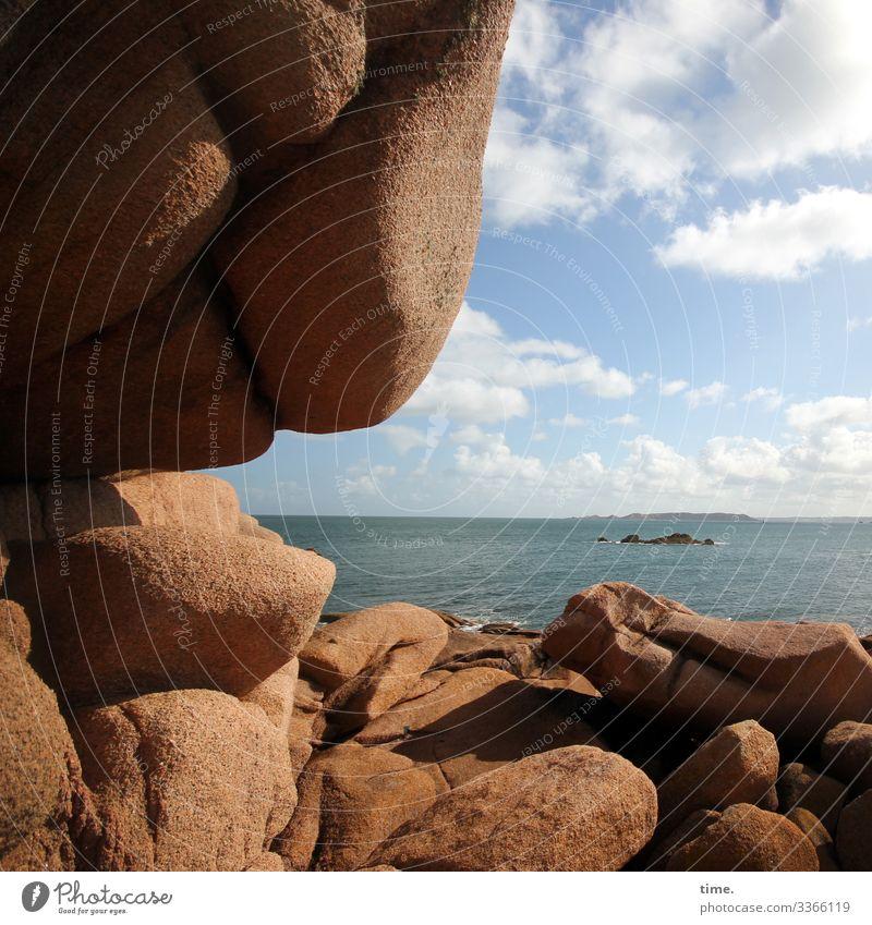Kulisse mit Meerblick Himmel Ferien & Urlaub & Reisen Natur schön Wasser Wolken Ferne Leben Herbst Umwelt Stein Zusammensein Felsen Horizont Ordnung