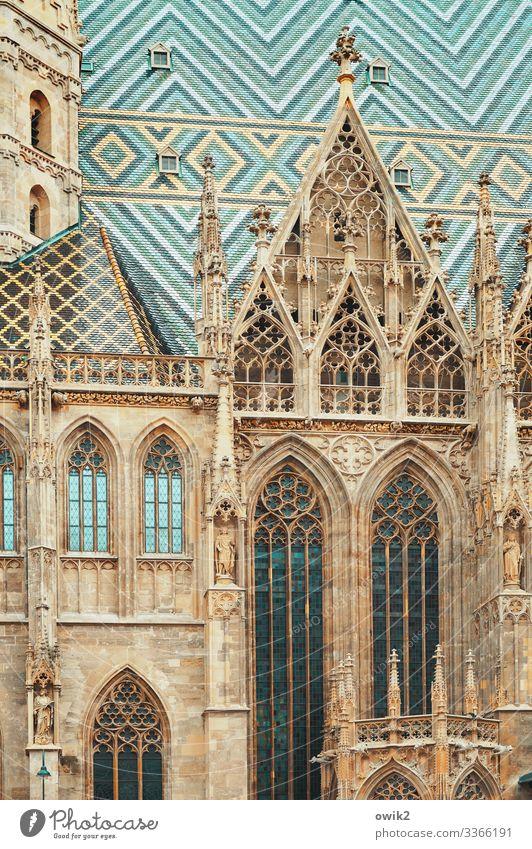 Steffl Wien Stephansdom Stadtzentrum Kirche Dom Bauwerk Fassade Fenster Dach Sehenswürdigkeit Wahrzeichen alt Bekanntheit gigantisch groß historisch