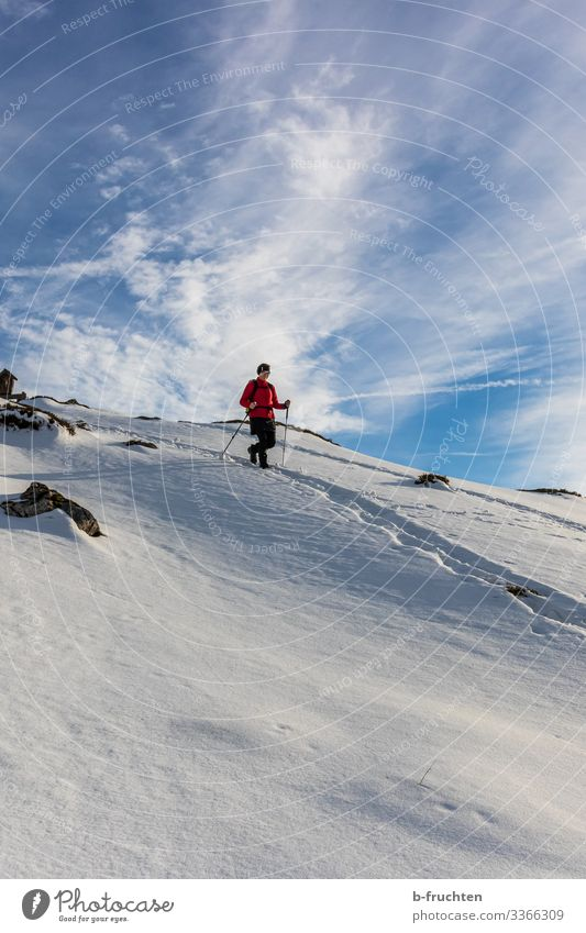 Frau beim Wandern im Schnee, Winter schnee berge gebirge sonnenuntergang alpen Berchtesgadener Alpen Spuren winter wanderung rucksack tourengehen gegenlicht