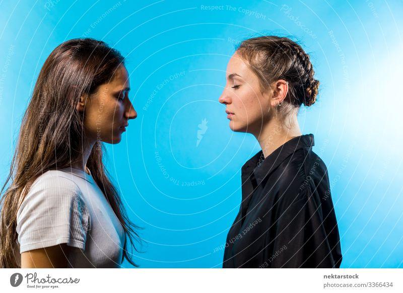 Profil von zwei Frauen, die einander mit geschlossenen Augen gegenüberstehen Angesicht zu Angesicht Augen geschlossen Mädchen junger Erwachsener