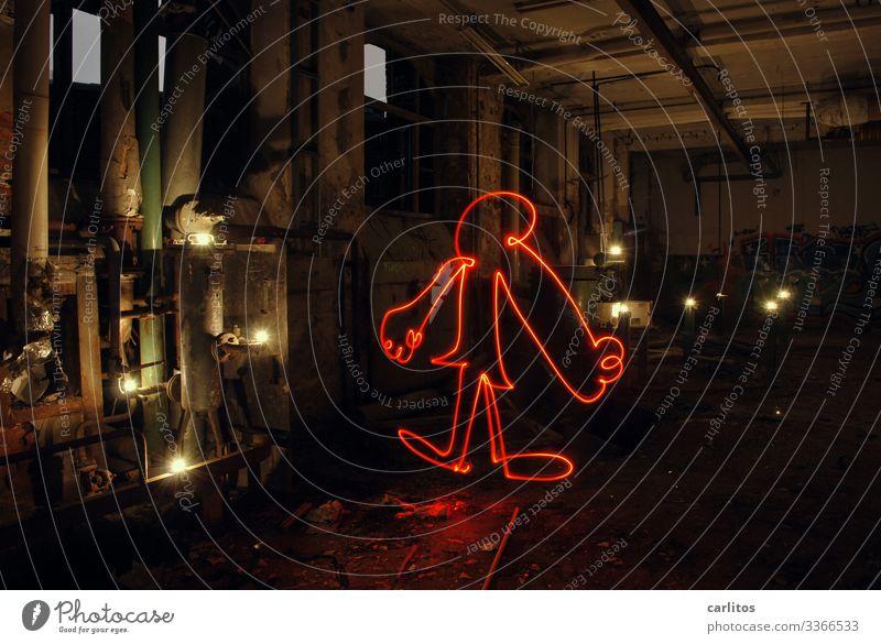 Altes aus dem Keller III Industrie Industriefotografie Verfall Conti Hannover Demontage Lichtmalerei rot Taschenlampe Abenteuer lost places Strichmännchen Figur